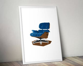 Mid-century Furniture Instant Download, Printable Wall Art, Digital Download,  Contemporary Interior Design, Eames Chair