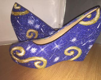 Van Gogh-starry night-inspired shoes-painting-unique-wedding-prom