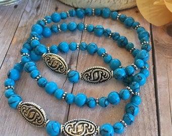 Stretch beaded bracelet-triple strand bracelet-turquoise colored beads-Tibetan silver beads