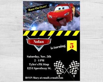 Disney Cars Birthday Invitation / 5x7 Invitation / Cars Birthday Invitation / Cars Movie Invitation / Lightning McQueen Birthday Invitation
