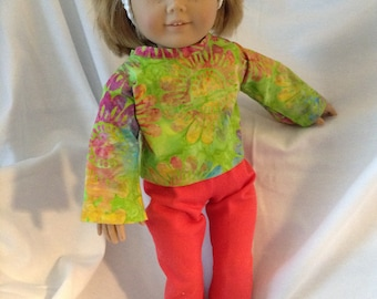 18 inch doll like American Girl & Maplelea Tie Dyed Bell sleeved top and Pants