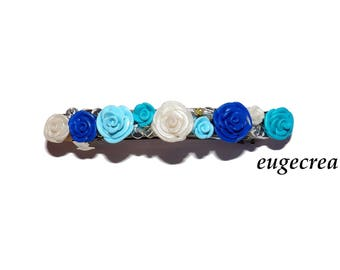 Blue Pink Barrette with polymer clay