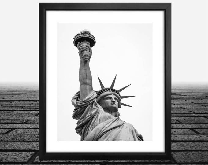 Statue of Liberty, New York City, framed art 14x18, 11x14 photo, framed black and white new york photos