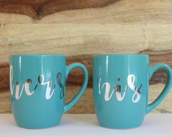 His and Hers Mug Set in Teal