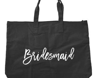 Black Bridesmaid Zippered Tote Bag
