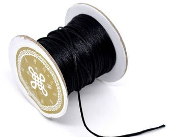 2 m black cords knotting satin 1.5 mm