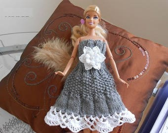 grey wool Dress for barbie