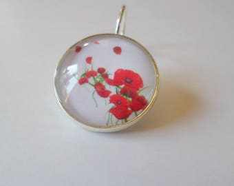 SOLD to the PIECE, earring, glass cabochon, multiple poppies
