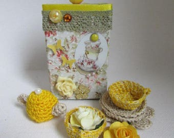 """just tea!"" - crochet tea service in box"