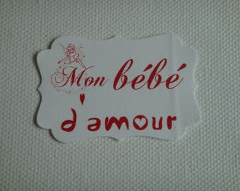 """Cut paper white personalized """"My baby love"""" tag red for creation"""