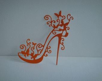 Stiletto heel cut orange vinyl