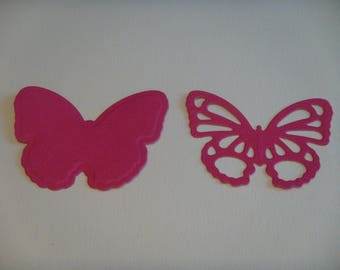 Cut set of 2 butterflies fuchsia 4 cm height