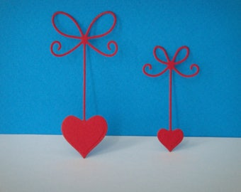 Cut red set of 2 bows hearts for scrapbooking and card