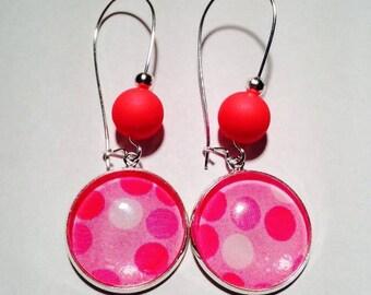 Earring Stud Cabochon dangle Fushia pink tone