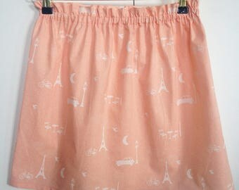 "Skirt ""Edith"" cotton pink and white"