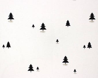 Fabric, Christmas, black trees, white, gold