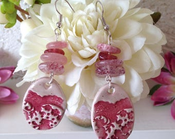 Dangle oval earrings lace Bohemian pink-fuchsia-cream ceramic and Hematite Quartz chips