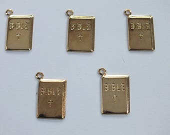 LOT 5 METALS CHARMS Gold: book bible 18 mm