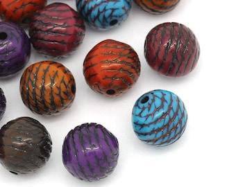 20 multicolored striped beads black 9.5 mm