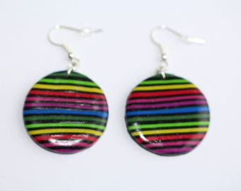 Multi-color striped round Stud Earrings