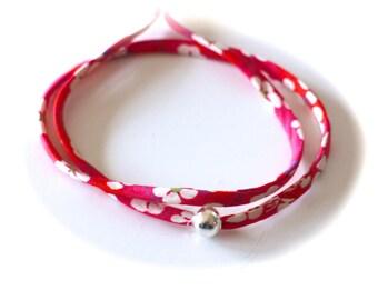 Diy BRACELET KIT double adjustable cord Liberty Mitsi fuchsia pink and smooth beads