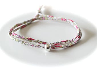 DIY LIPIKI KIT: Double Bracelet adjustable cord Liberty Eloise pink and white and silver smoother pearls no tools required
