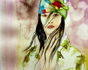watercolor a beautiful Asian