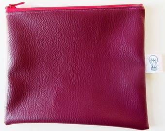 Large 20 cm x 16.5 cm plum leatherette case