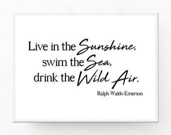 Emerson Download, Live in the Sunshine, Minimalist Print, Digital Download, Coastal Wall Art, Instant Download, Beach Wall Art Emerson Print