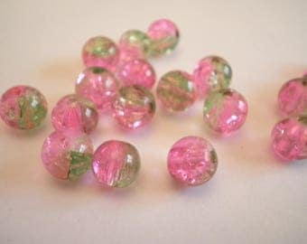 15 7/8 mm pink and green cracked glass beads
