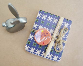Master Notepad Vintage orange button and pencil