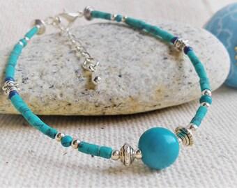 Bracelet gemstones - Turquoise Jewelry-Malachite stone jewelry-ethnic-Elegance