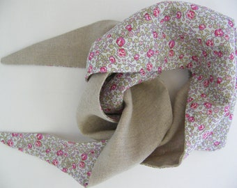 Arabic scarf LIBERTY Eloise pink and beige linen baby 6-12/18 months