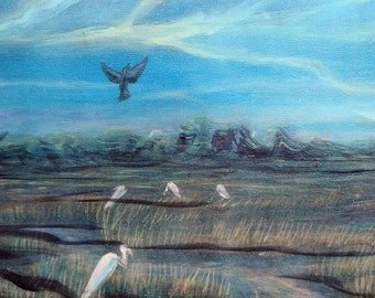 """Bird Creek Acrylic Painting size 10X24"""" on Canvas, Ready to Hang"""