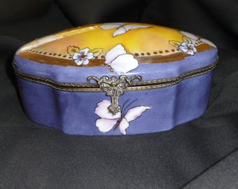 Hand painted porcelain jewelry box: blue, gold, yellow, butterflies and forget-me-nots