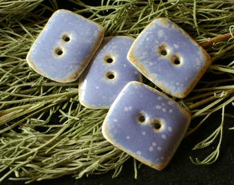 set of 6 beautiful buttons sewing - blue speckled white.