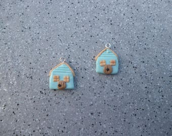 2 charms made by hand without mold polymer clay houses