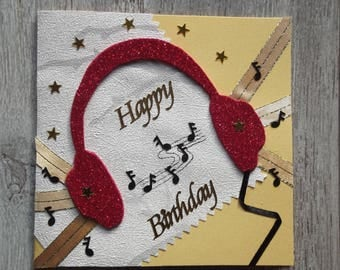 """The musical helmet"" birthday card red and gold"
