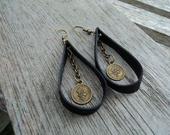 Dangle earrings with recycled tractor inner with chain and charm bronze metal