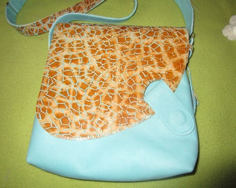 "light blue leather & patent print ""Giraffe"" bag"