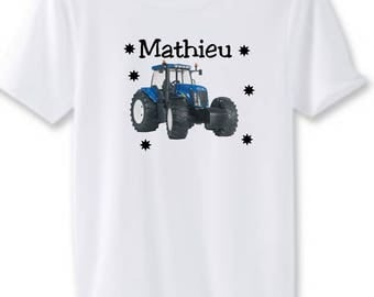 Blue tractor man white t-shirt personalized with name
