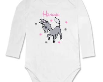 Little donkey personalized with name Bodysuit
