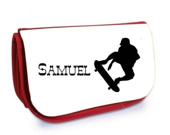 Cosmetic case red Skateboard /crayons personalized with name