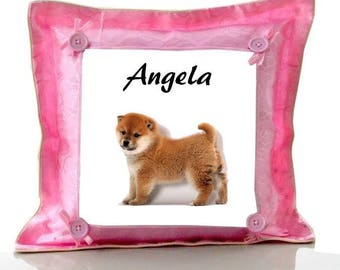 Cushion Pink dog attika personalized with name
