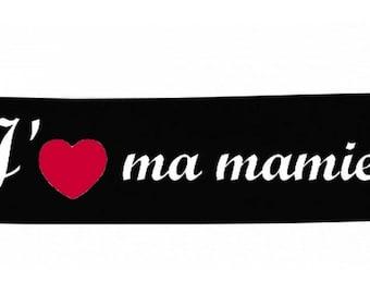 Headbands black message baby I love my grandma
