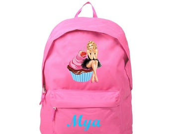 Backpack pink pin personalized with name