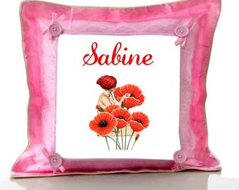 Cushion Pink poppy personalized with name