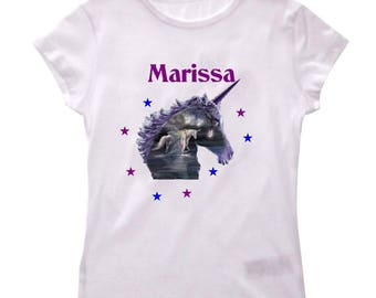 T-shirt girls Unicorn personalized with name