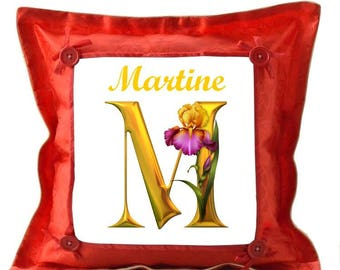 Initial M Red pillow personalized with name