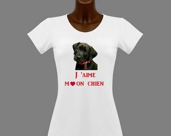 White women t-shirt I love my dog (labrador)